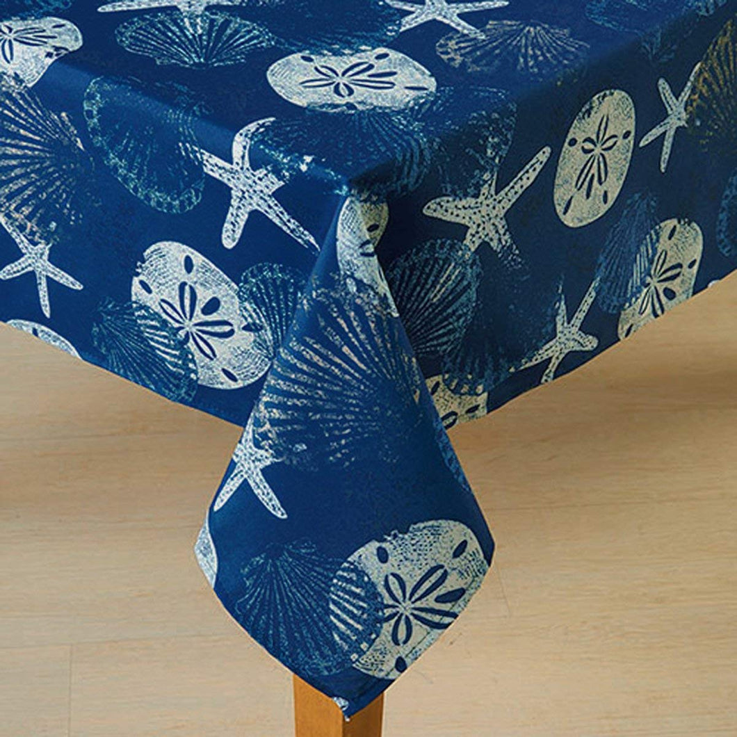 Benson Mills Blue White Batik Shells Fabric Tablecloth Deep Ocean Blue 52 x 70
