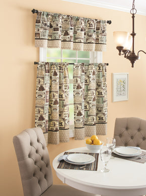 Fresh Brewed Valance or Tier Set Coffee Kitchen Curtains