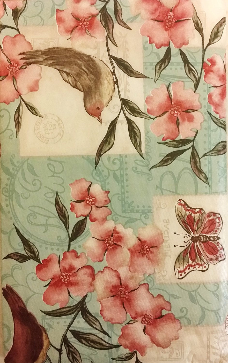 Elrene Birds and Butterflies Among Flowers Vinyl Flannel Backed Tablecloth