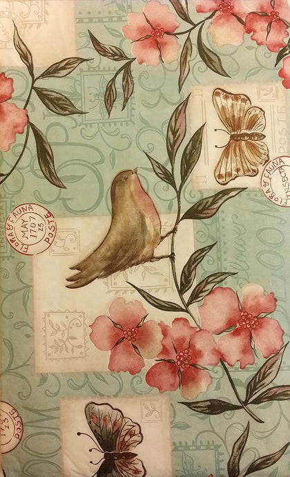 Birds and Butterflies Among Flowers Vinyl Flannel Backed Tablecloth 52 x 90