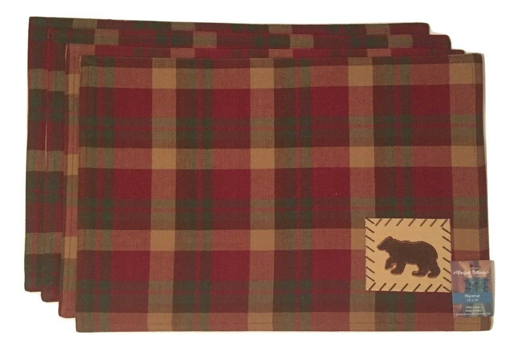 Black Bear Placemats Plaid Lodge Cabin Set of 4
