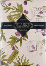 Elrene Black and Green Olive Branches Vinyl Flannel Back Tablecloth 60 inch Rd