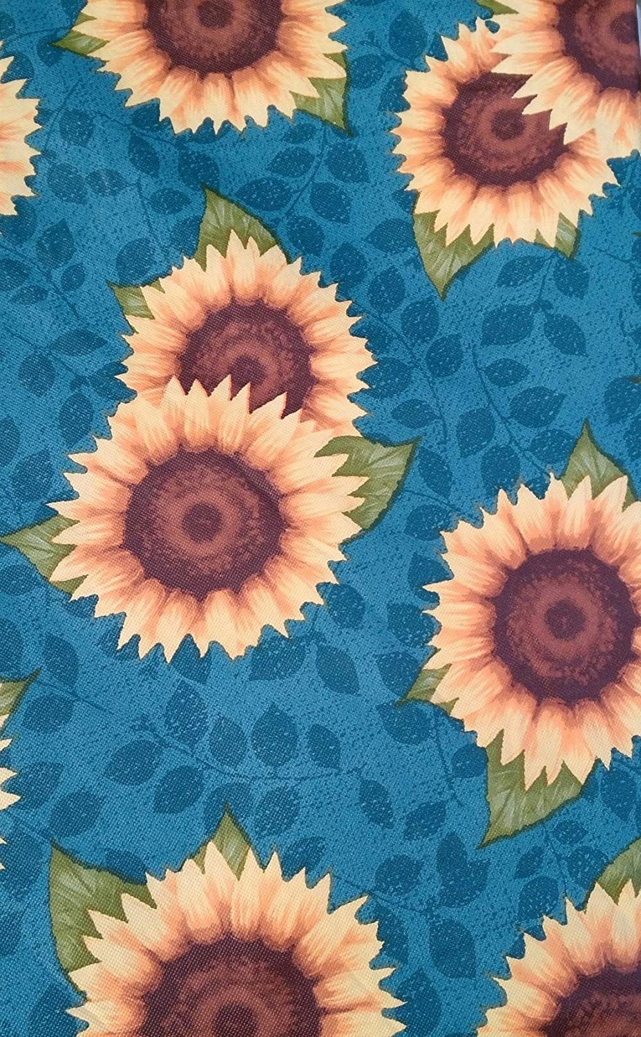 Colorful Blue Teal Yellow Sunflowers Vinyl Flannel Back Tablecloth 60 Round