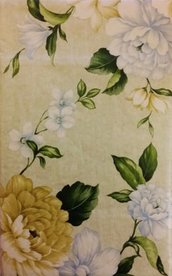 Elrene Blue and Yellow Floral Vinyl Flannel Back Tablecloth 60 Round