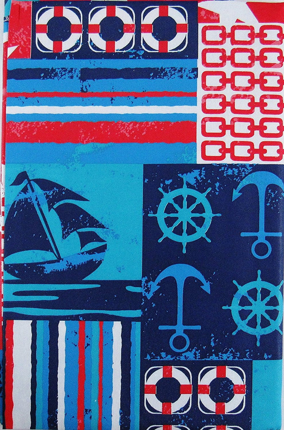 Elrene Boat Nautical Patchwork Vinyl Flannel Tablecloth