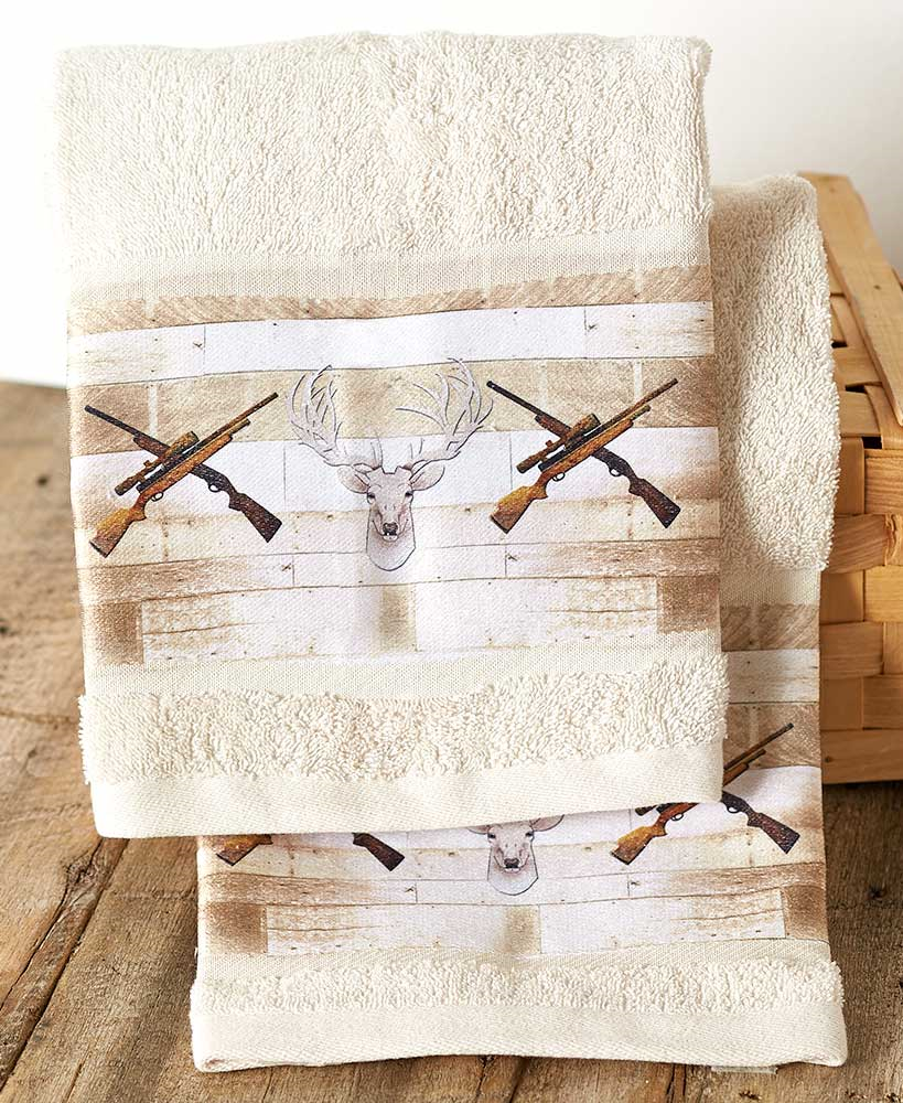 Hunters Hand Towels Set of 2 Hunting Rifles Deer Heads Lodge Cabin