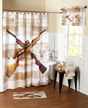 Hunters Fabric Shower Curtain Hunting Rifles Deer Heads Lodge Cabin