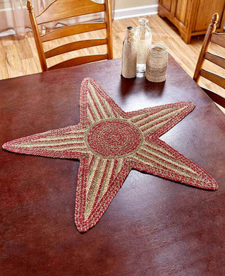 Braided Star Table Runner Centerpiece Burgandy Country Farmhouse
