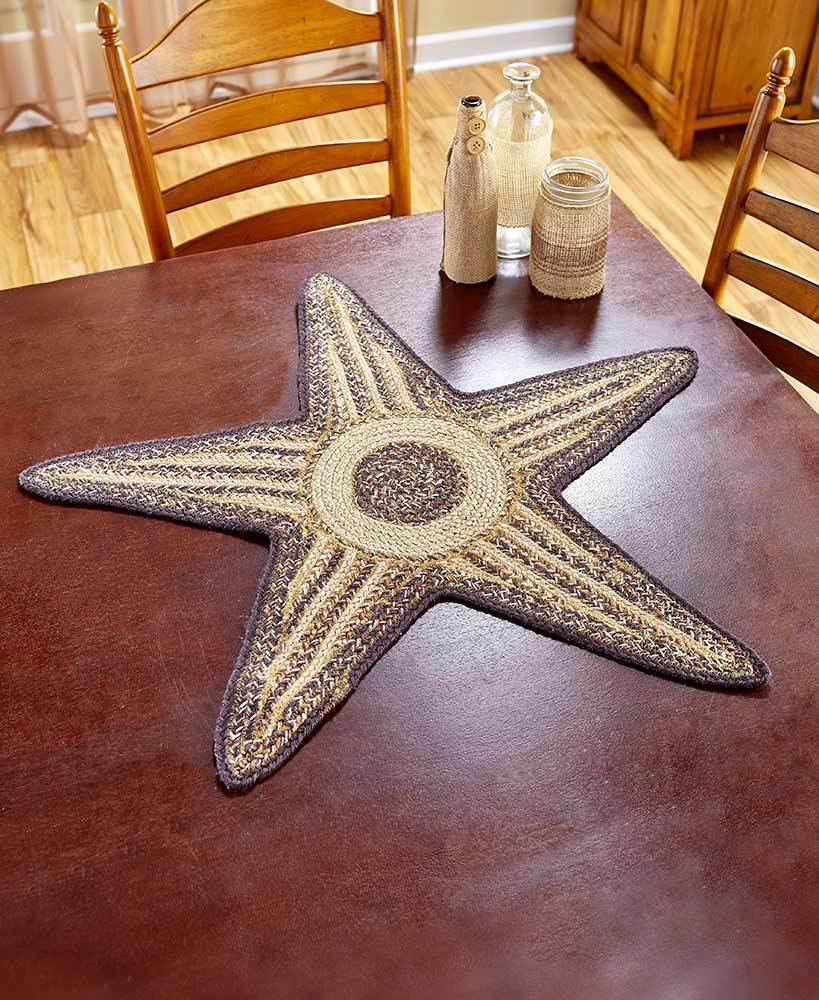 Braided Star Table Runner Centerpiece Espresso Country Farmhouse