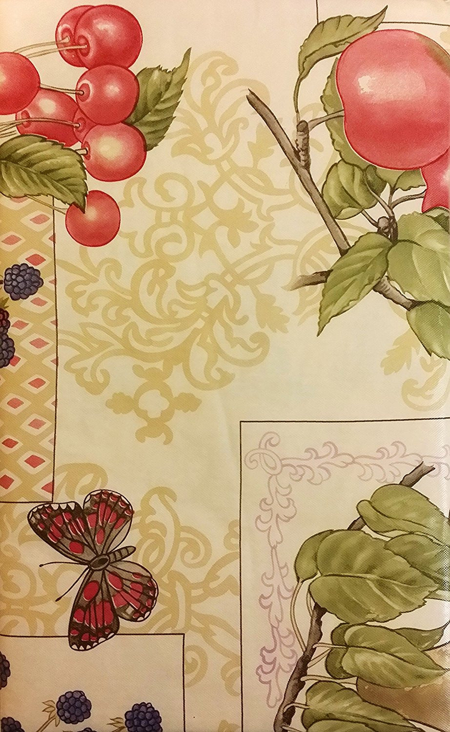 Elrene Butterflies Among Fruit Vinyl Flannel Backed Tablecloth 60 Round