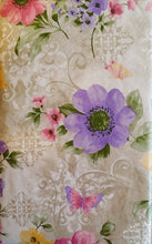 Butterflies Among Pink Yellow Purple Violets Vinyl Flannel Back Tablecloth