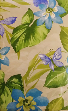 Butterflies Tropical Blue Violet Flowers Vinyl Flannel Back Tablecloth 52 x 70