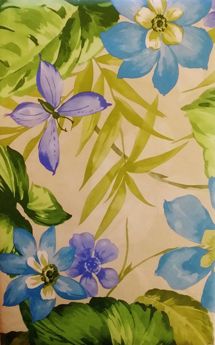 Butterflies Among Tropical Blue and Violet Flowers Vinyl Flannel Back Tablecloth
