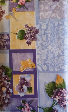 Butterflies Dragonflies Lilacs Flowers Vinyl Flannel Backed Tablecloth 52 x 90 Oblong