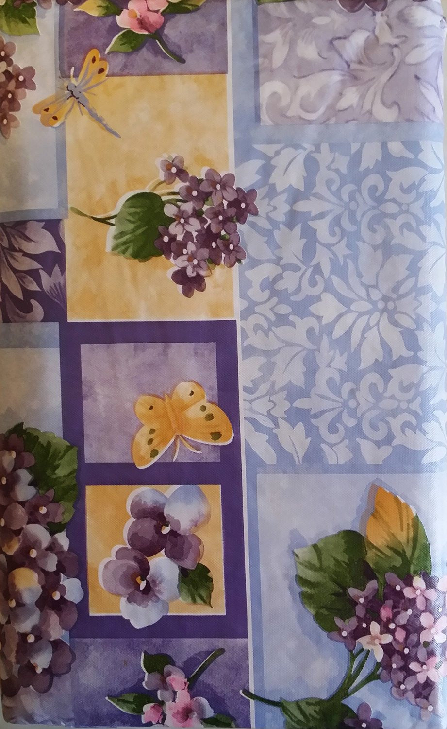 Butterflies Dragonflies Lilacs Flowers Vinyl Flannel Backed Tablecloth 60