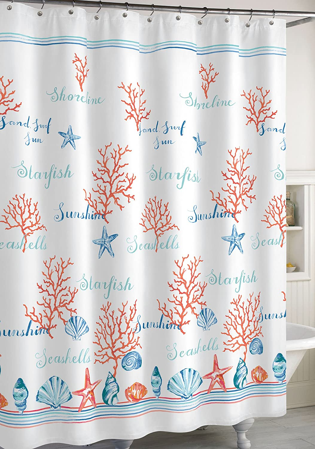 CHF Destinations Acapulco Shower Curtain Seashells Starfish Coral Coastal