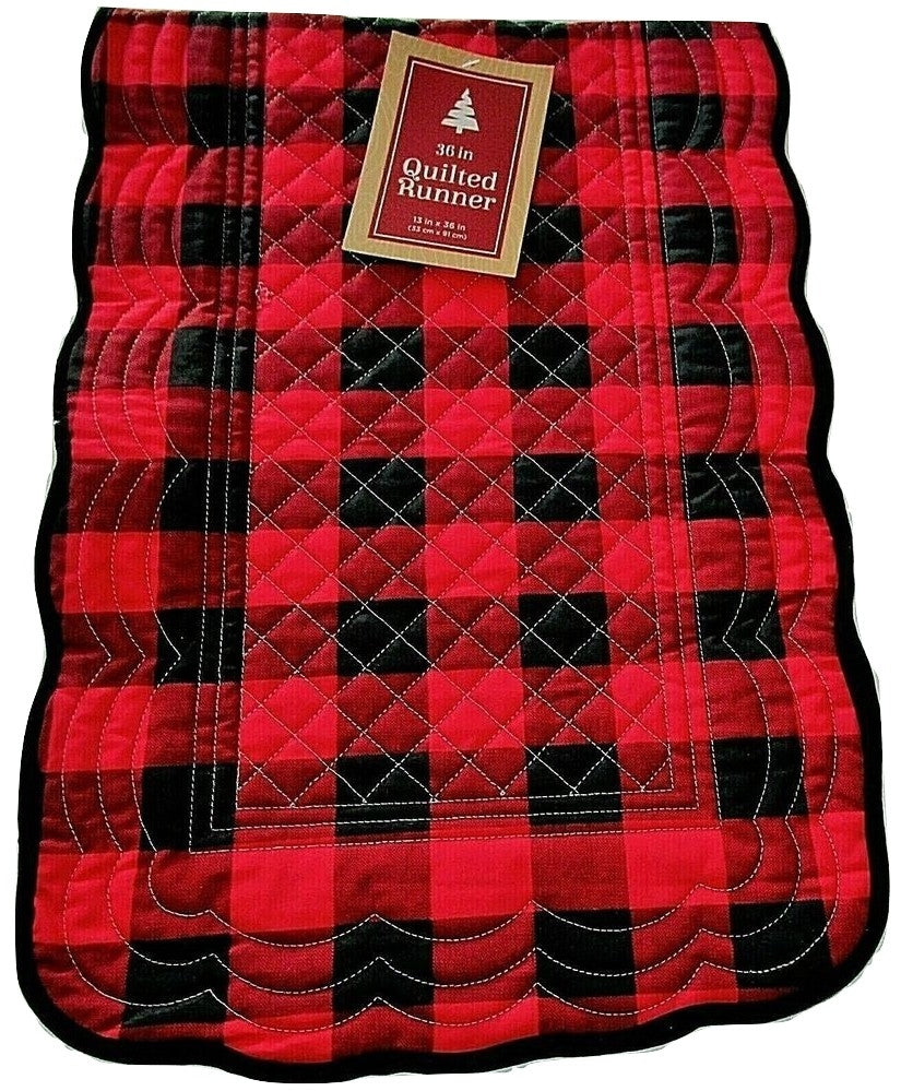 Christmas Quilted Table Runner 13 x 36 Reversible Red Black Plaid