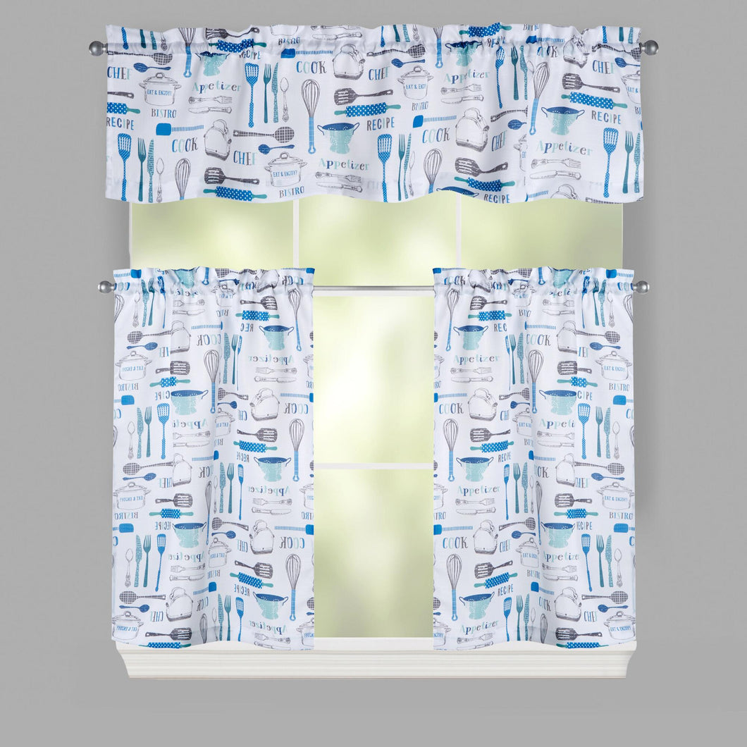 Lichtenberg Blue Cooking Tools Window 36L Tier and Valance Set