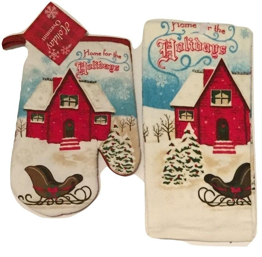 Home For The Holidays Christmas Cabin Sleigh 2 pc kitchen towel oven mitt set