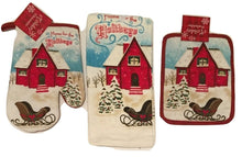 Home For The Holidays Christmas Cabin 3 pc kitchen towel potholder oven mitt set