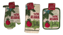 Tis The Season To Be Jolly Christmas 3 pc kitchen towel potholder oven mitt set
