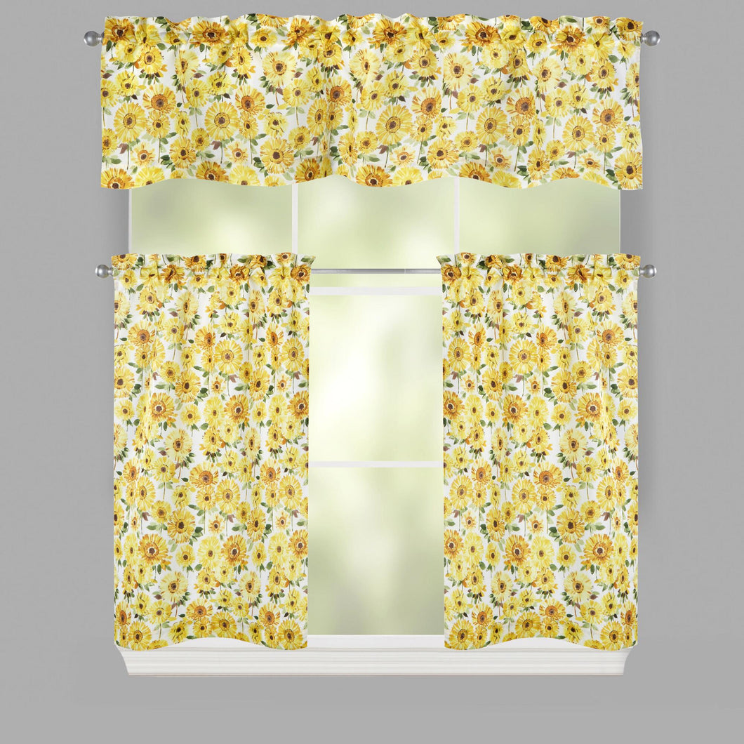 Lichtenberg Summer Yellow Flowers Microfiber Window Tier and Valance Set