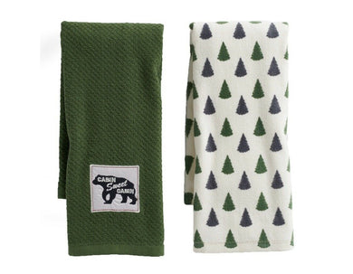 Kitchen Towels Set of 2 Cabin Sweet Cabin Bears Pine Trees Lodge