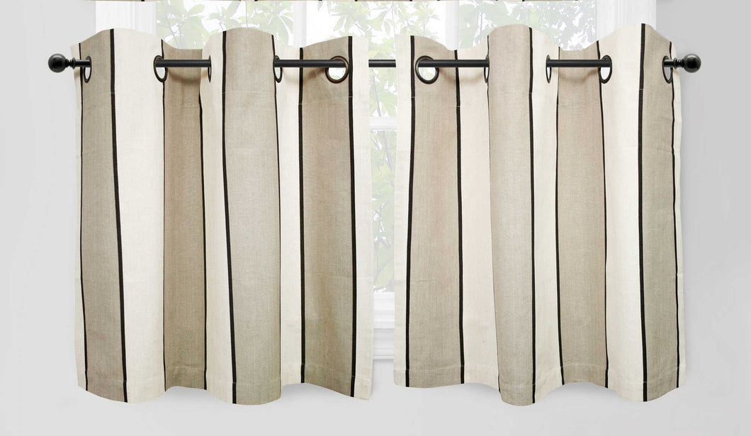 Park B. Smith Cafe Stripe Naturals Tier Curtain Set Grommet Top 24 inch Long