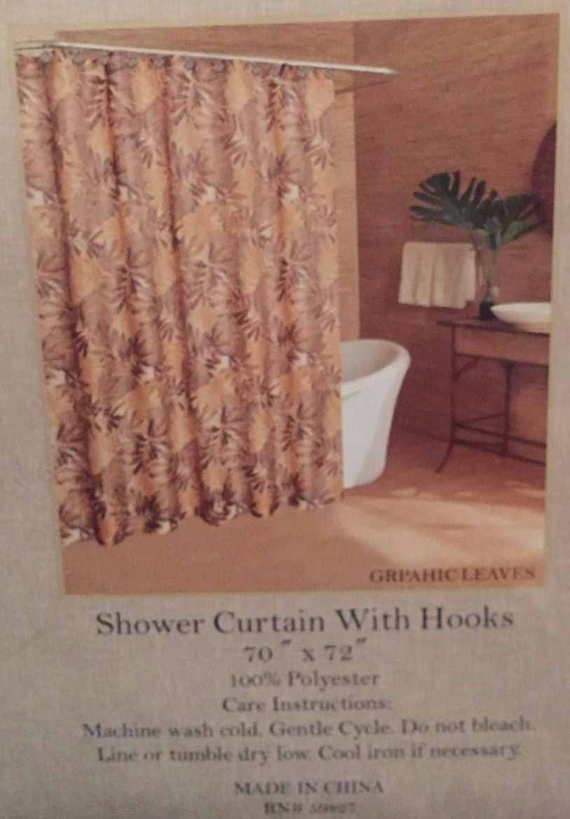 Caribbean Joe Island Supply Graphic Leaves Brown Shower Curtain And Ho Anns Home Decor More