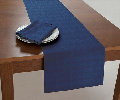 Chandler Fabric Table Runner 14 x 70 Navy Blue Bardwil Linens Spill Proof
