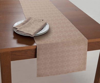 Chandler Fabric Table Runner 14 x 70 Taupe Bardwil Linens Spill Proof