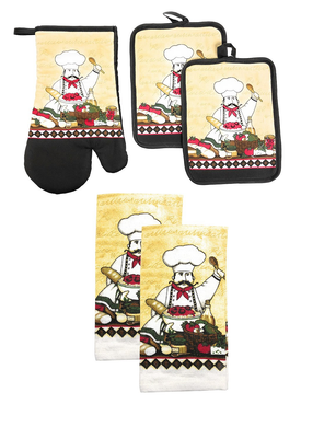 Chef Salad Kitchen Linen Towels Potholders Oven Mitt 5 pc Set
