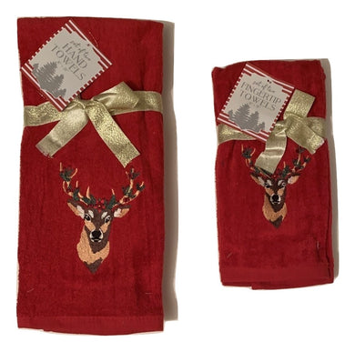Christmas Hand Towels or Tip Towels Red Deer Embroidered