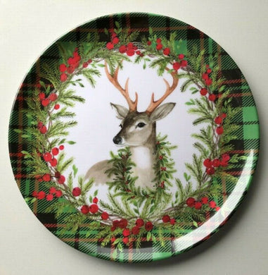 Christmas Reindeer Buck Holiday Red Green Plaid Melamine Dinner Plates Set of 4