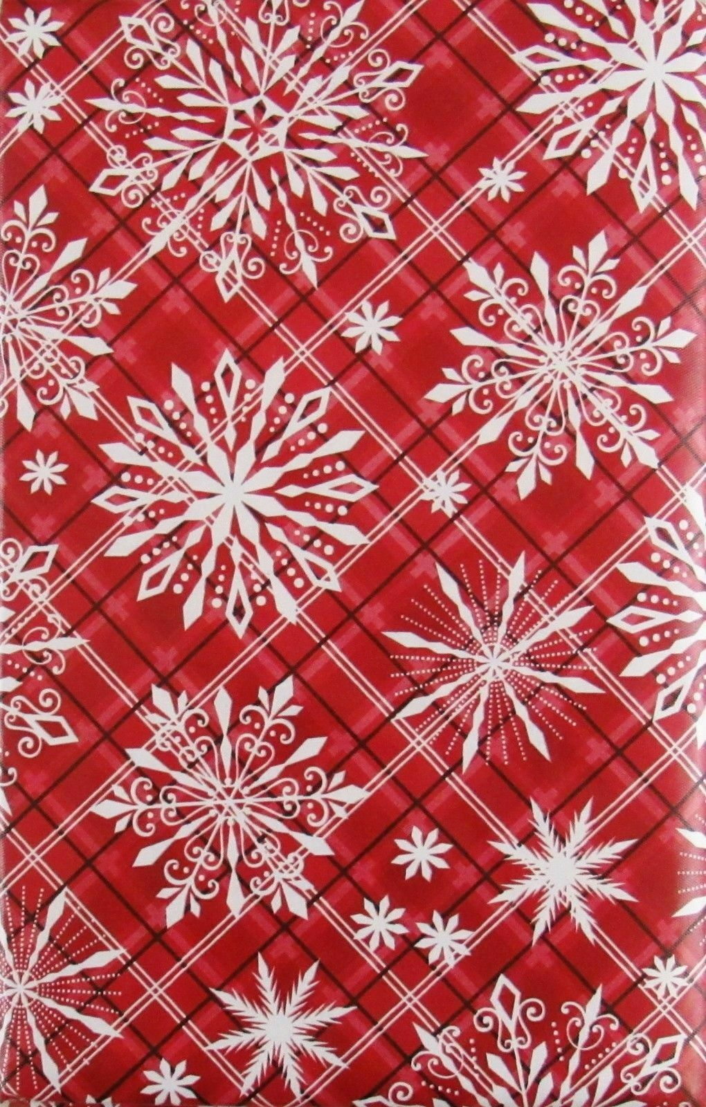 Christmas Snowflakes on Plaid Vinyl Flannel Back Tablecloth 52 x 70 Oblong