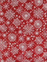Christmas Snowflakes on Plaid Vinyl Flannel Back Tablecloth 60 in Round