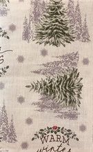 Christmas Vinyl Flannel Tablecloth 52 x 70 Oblong Warm Winter Wishes Pine Trees
