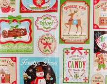 Christmas Confectionery Bakery Treats Vinyl Flannel Back Tablecloth Round or Oblong