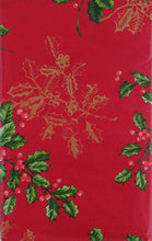 Christmas Holly with Gold Etchings Vinyl Flannel Tablecloth Various Sizes Red