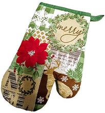 Christmas Kitchen Linen Set Towels Potholder Oven Mitt Merry Deer Noel