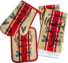Christmas Kitchen Linen Set Towels Potholder Oven Mitt Most Wonderful Time Year