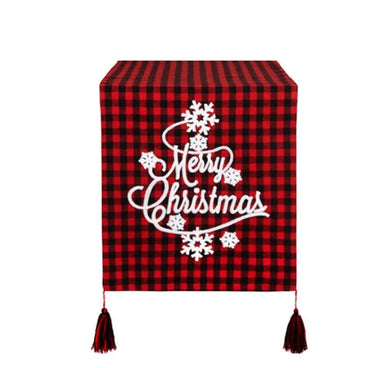 Christmas Table Runner Buffalo Plaid Red Black Merry Christmas Snowflakes 13x72
