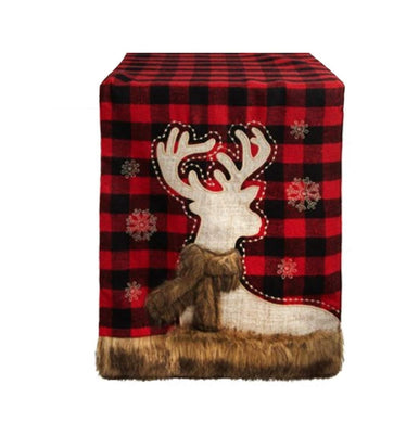 Christmas Table Runner Buffalo Red Black Plaid Reindeer 13 x 72 Deer Faux Fur