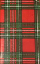 Christmas Tartan Plaid Vinyl Flannel Back Tablecloth Various Sizes Red Green