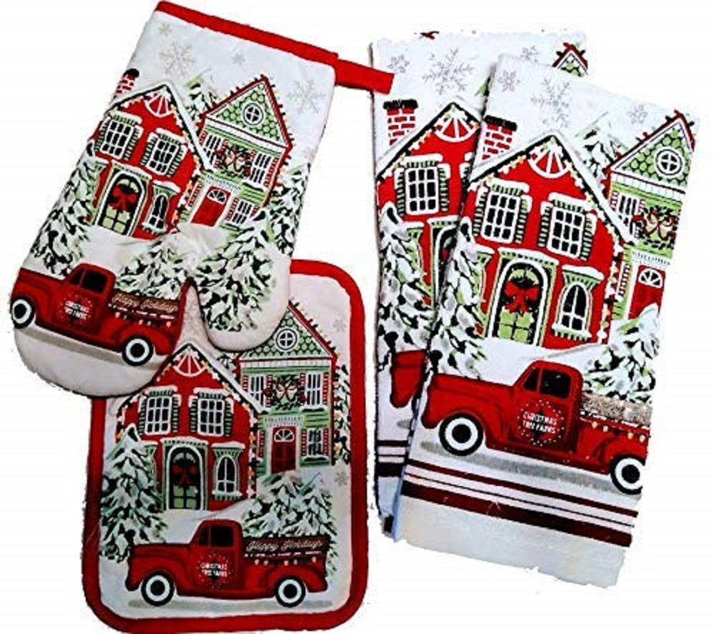 Christmas Kitchen Linen Set Towels Potholder Oven Mitt Tree Farm