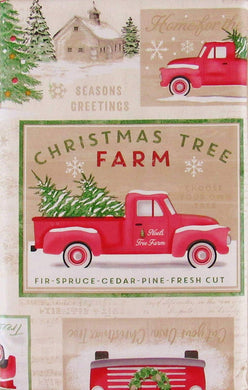 Christmas Vinyl Flannel Back Tablecloth Tree Pine Valley Farm 52 x 70 Oblong
