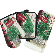Christmas Kitchen Linen Set Towels Potholder Oven Mitt Buffalo Plaid Tree Joy