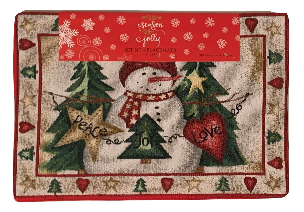 Christmas Tapestry Placemats Peace Love Joy Snowman Trees Set of 4