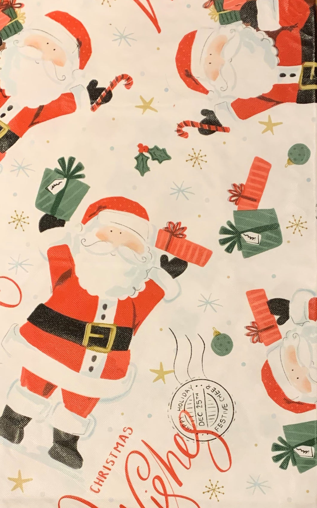 Christmas Vinyl Flannel Tablecloth 52 x 70 Oblong Wishes and Santa Claus