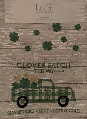 Windham St Patrick's Day Clover Patch Shamrock Table Runner 13x72